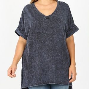 Plus Size Blue Mineral Wash Zenana Top